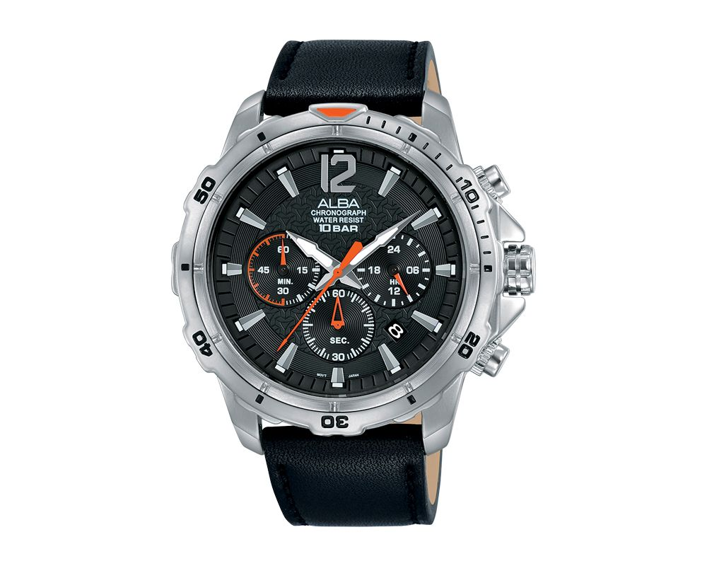 Alba Men Hand Watch ACTIVE Black Leather Strap and Black Dial AT3C97X1