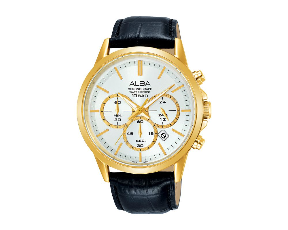 ALBA Men's Hand Watch PRESTIGE Black Leather Strap and Silver White Dial AT3B96X1