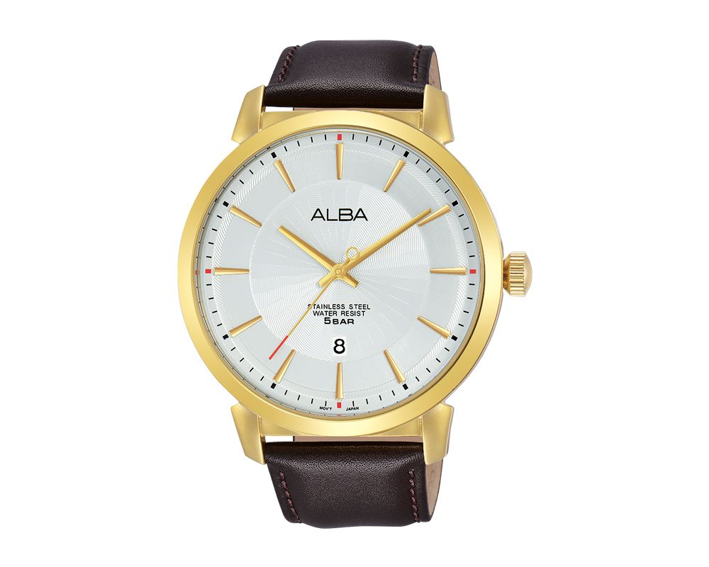 ALBA Men's Hand Watch PRESTIGE Brown Leather Strap and Silver White Dial AS9E68X1