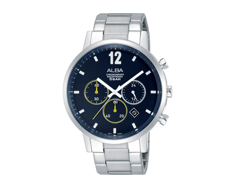 ALBA Men's Hand Watch PRESTIGE Stainless Steel Bracelet and Blue Dial AT3C53X1