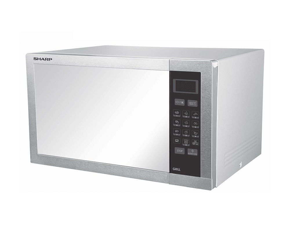 SHARP Microwave 34 Litre 1000 Watt In Stainless Color With Grill and 9 Auto Menus R-770AR(ST)